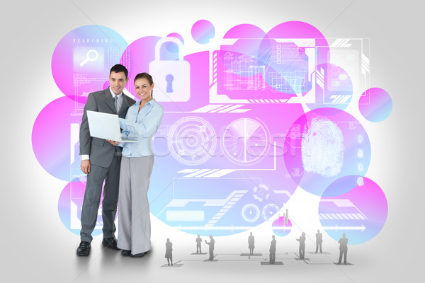 幸せ ビジネスチーム ラップトップを使用して セキュリティ インターフェース デジタル複合 ストックフォト © wavebreak_media