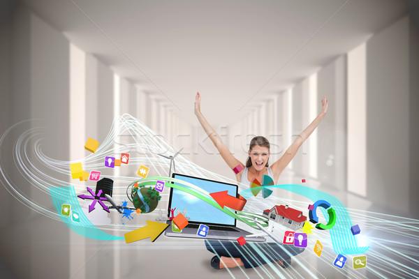 Utilisant un ordinateur portable app icônes composite numérique Photo stock © wavebreak_media