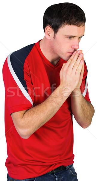 Nervoso futebol ventilador vermelho branco homem Foto stock © wavebreak_media