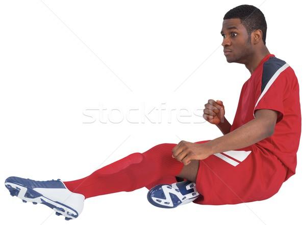Voetballer Rood witte voetbal versnelling Stockfoto © wavebreak_media