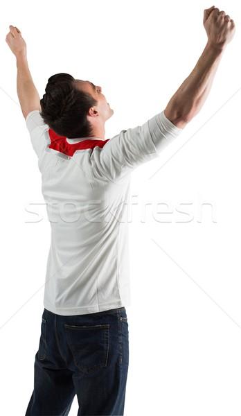 Stock fotó: Izgatott · futball · ventillátor · éljenez · fehér · sport