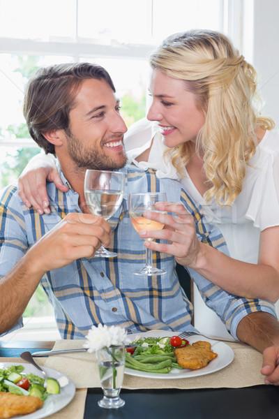 Foto stock: Bonitinho · sorridente · casal · vinho · branco · refeição
