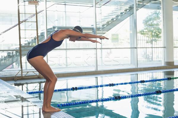 Montare nuotatore immersione piscina tempo libero centro Foto d'archivio © wavebreak_media