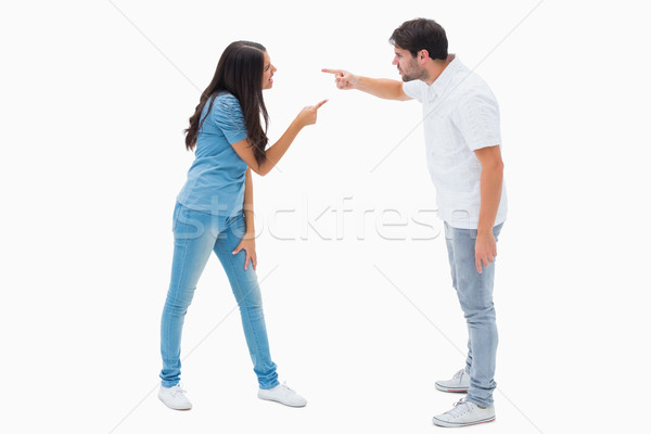 Stock photo: Angry couple shouting at each other