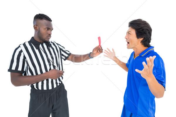 Komoly döntőbíró mutat piros kártya játékos Stock fotó © wavebreak_media
