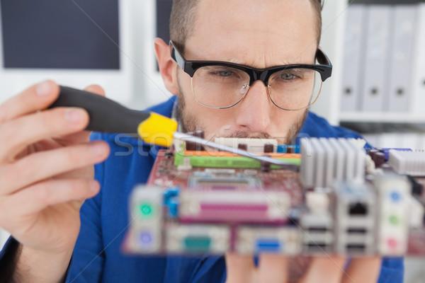 Computador engenheiro trabalhando cpu chave de fenda escritório Foto stock © wavebreak_media