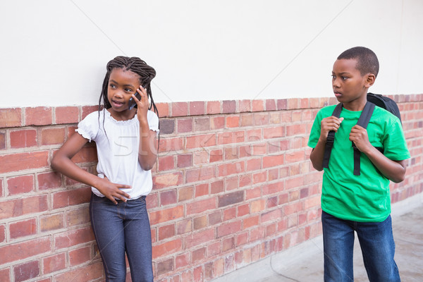 Cute говорить смартфон прихожей школы Сток-фото © wavebreak_media