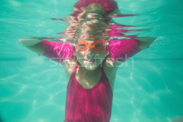 Aranyos gyerek pózol vízalatti medence szabadidő Stock fotó © wavebreak_media
