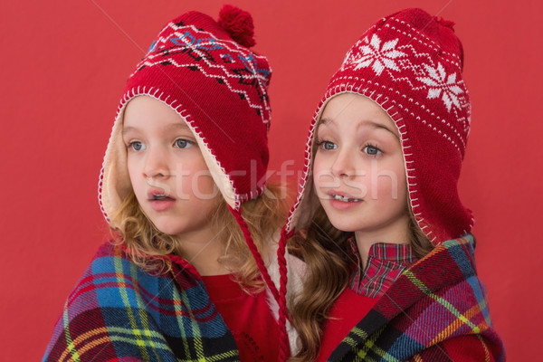 Festive little girls under a blanket Stock photo © wavebreak_media