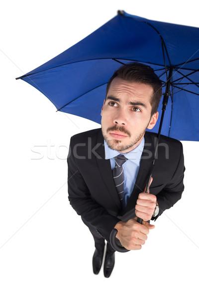 Niespokojny biznesmen parasol biały garnitur Zdjęcia stock © wavebreak_media