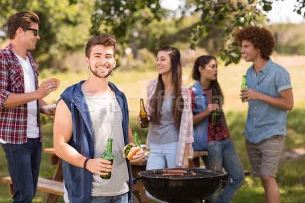 Stock fotó: Boldog · barátok · park · barbecue · napos · idő · férfi
