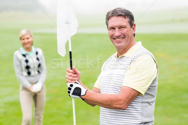 счастливым гольфист флаг партнера Сток-фото © wavebreak_media