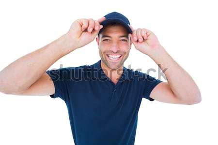 Sonriendo mensajero CAP blanco retrato Foto stock © wavebreak_media