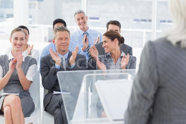 Stock photo: Businesswoman doing speech during meeting