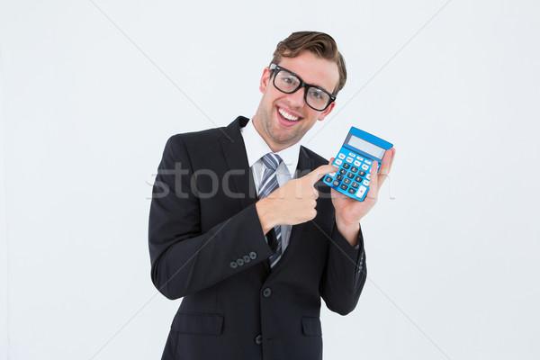 ビジネスマン ポインティング 電卓 白 ビジネス シャツ ストックフォト © wavebreak_media