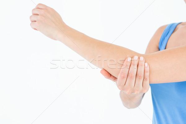 Mulher tocante doloroso cotovelo branco corpo Foto stock © wavebreak_media