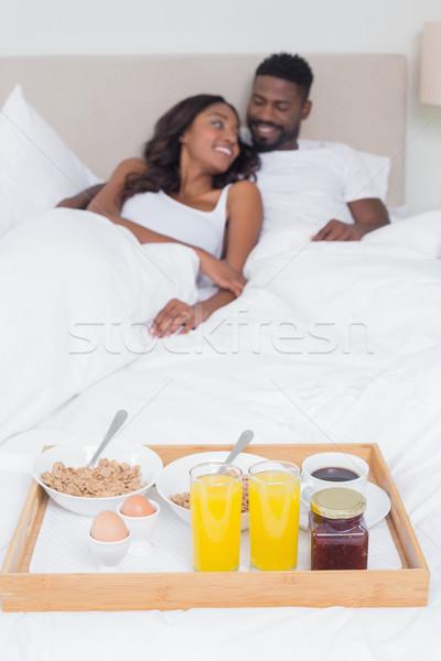 Paar ontbijt bed samen home Stockfoto © wavebreak_media