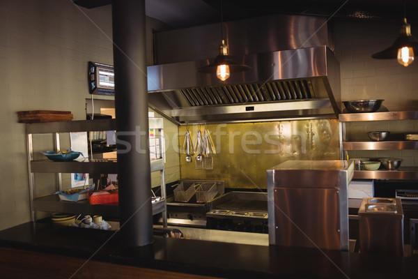 Kommerziellen Küche Restaurant leer Wein Fenster Stock foto © wavebreak_media