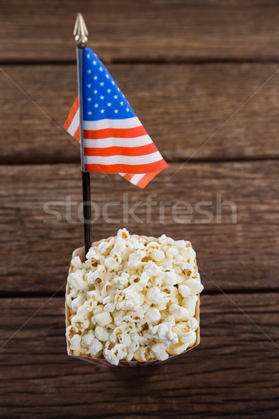 Popcorn houten tafel tabel Blauw Stockfoto © wavebreak_media