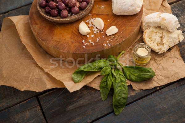мнение маслины трава чеснока хлеб Сток-фото © wavebreak_media
