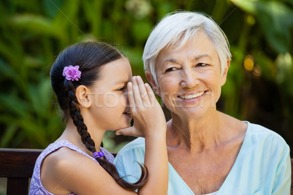 Petite fille chuchotement oreilles souriant grand-mère Photo stock © wavebreak_media