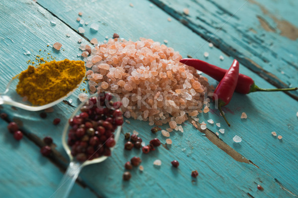 Various spices on wooden table Stock photo © wavebreak_media