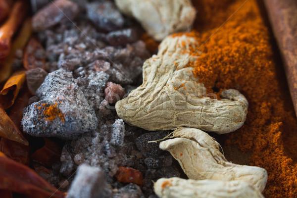 Közelkép fűszer különböző szín főzés só Stock fotó © wavebreak_media