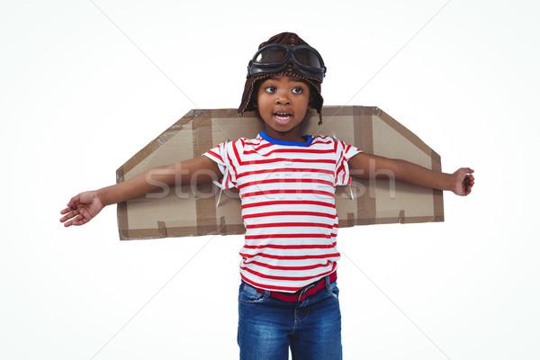 улыбаясь мальчика экспериментального белый экране бумаги Сток-фото © wavebreak_media