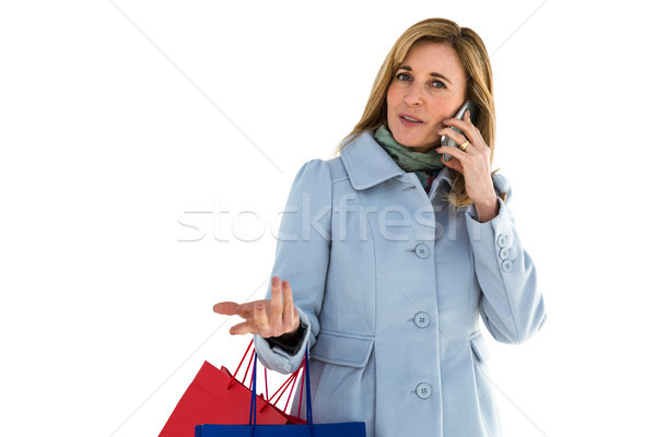 Vrouw gericht telefoongesprek telefoon telefoon groene Stockfoto © wavebreak_media