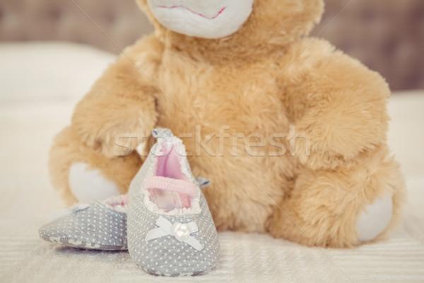 Pluche zuigeling schoenen bed huis home Stockfoto © wavebreak_media