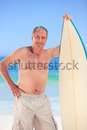 Man surfboard strand gelukkig Stockfoto © wavebreak_media