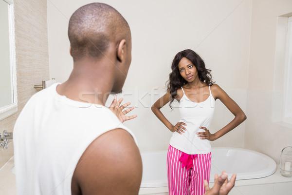 Argument salle de bain femme maison couple Photo stock © wavebreak_media