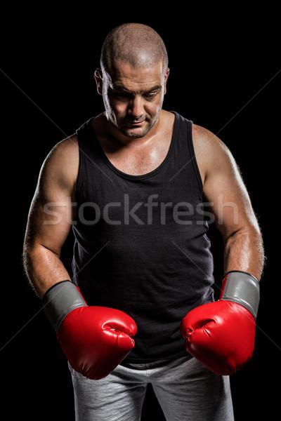 Boxer posa fallimento depresso nero boxing Foto d'archivio © wavebreak_media