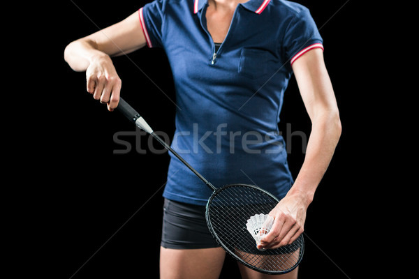 Badminton player holding a racquet ready to serve  Stock photo © wavebreak_media