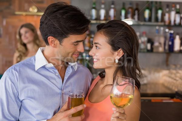 Romantische wijnglazen restaurant vrouw Stockfoto © wavebreak_media