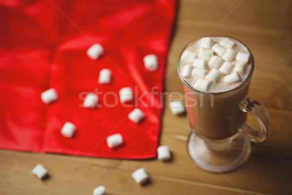 Kubek kawy ptasie mleczko drewniany stół christmas czasu Zdjęcia stock © wavebreak_media