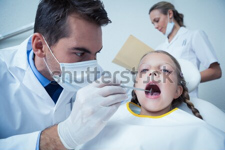 Doctor examining patient throat by using tongue depressor Stock photo © wavebreak_media