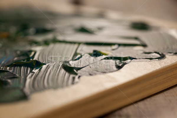 Palette verde colore istruzione tavola pittura Foto d'archivio © wavebreak_media