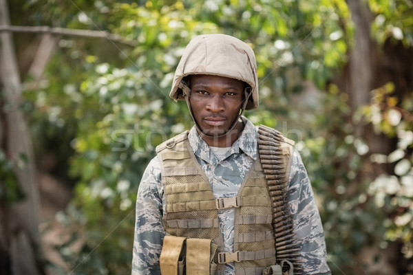 Portret militaire soldaat bos vlees zwarte Stockfoto © wavebreak_media