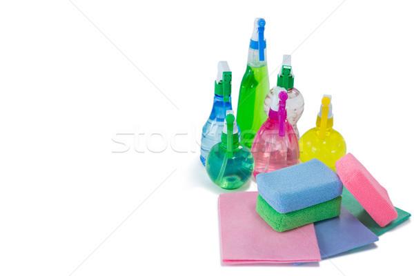Magasról fotózva kilátás színes spray üvegek törlés Stock fotó © wavebreak_media