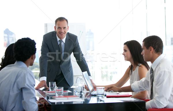 üzletemberek beszél új üzlet terv iroda Stock fotó © wavebreak_media