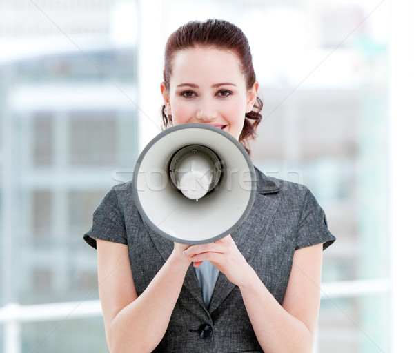 Kobieta interesu megafon stałego biuro Język Zdjęcia stock © wavebreak_media