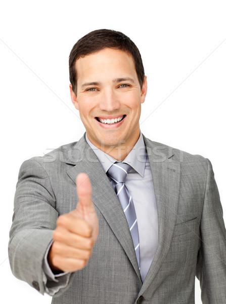 успешный бизнесмен большой палец руки вверх изолированный белый Сток-фото © wavebreak_media