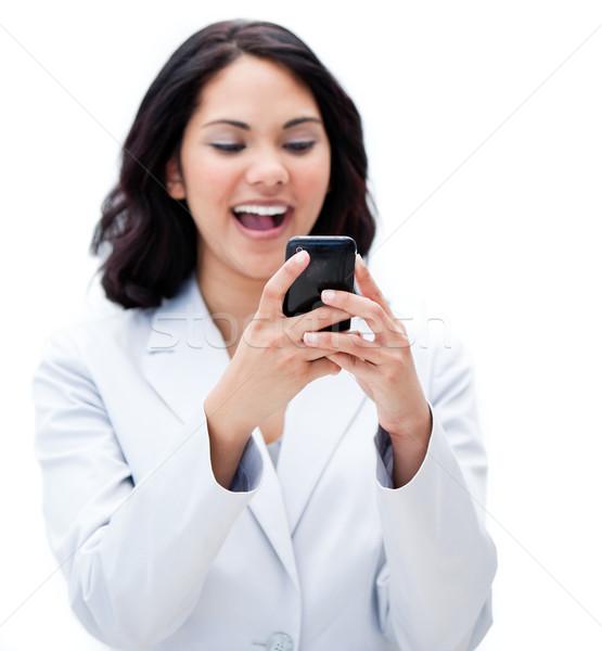 肖像 幸せ 女性実業家 送信 文字 オフィス ストックフォト © wavebreak_media