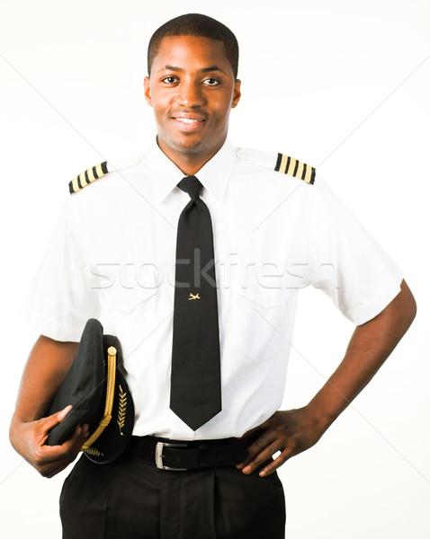 Jovem piloto isolado branco sorrir homem Foto stock © wavebreak_media