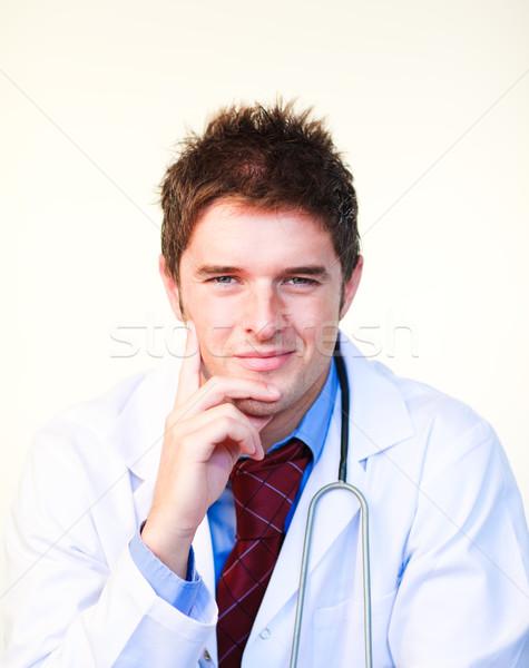 Foto d'archivio: Amichevole · giovani · medico · guardando · fotocamera · ospedale