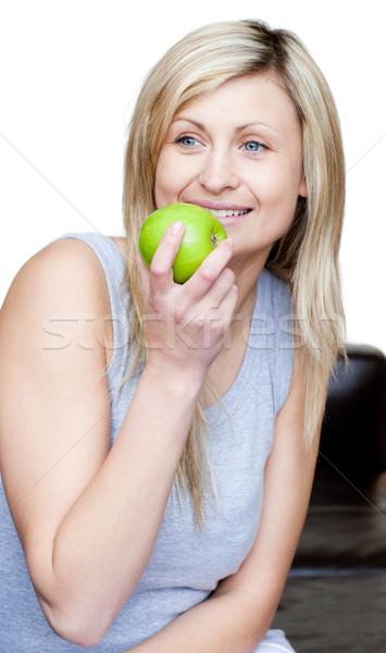 красивая женщина еды яблоко белый продовольствие счастливым Сток-фото © wavebreak_media