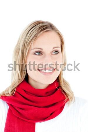 Ritratto donna rosso sciarpa bianco felice Foto d'archivio © wavebreak_media