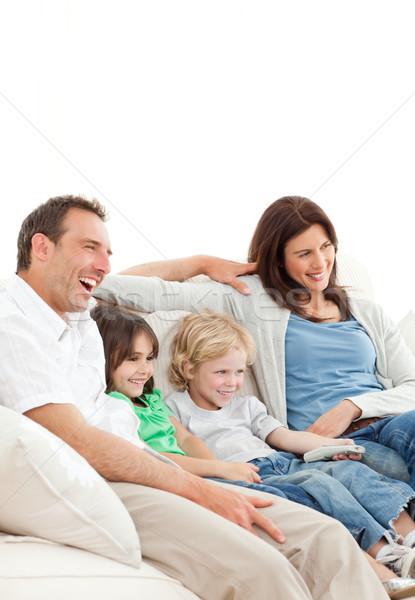 Mutlu aile izlerken film birlikte ev aile Stok fotoğraf © wavebreak_media