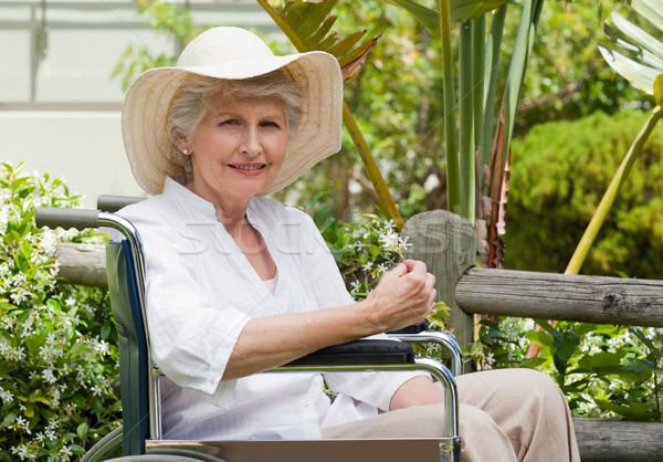 商业照片: 成熟的女人 · 轮椅 · 花园 · 医生 · 健康 ·女